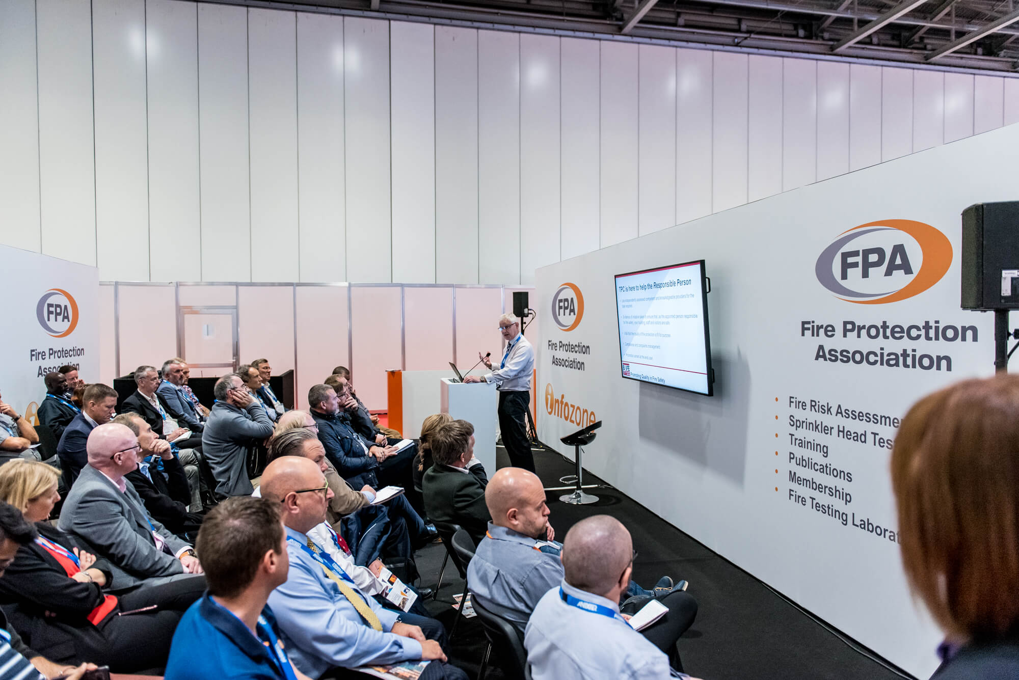A busy seminar at the FPA stand at FIREX 2019